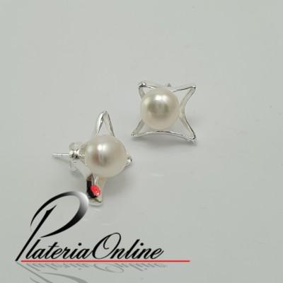 Aros estrella con perla y...