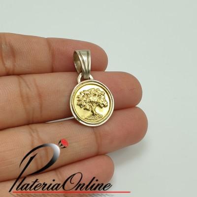 Medalla Arbol Plata 925 y Oro