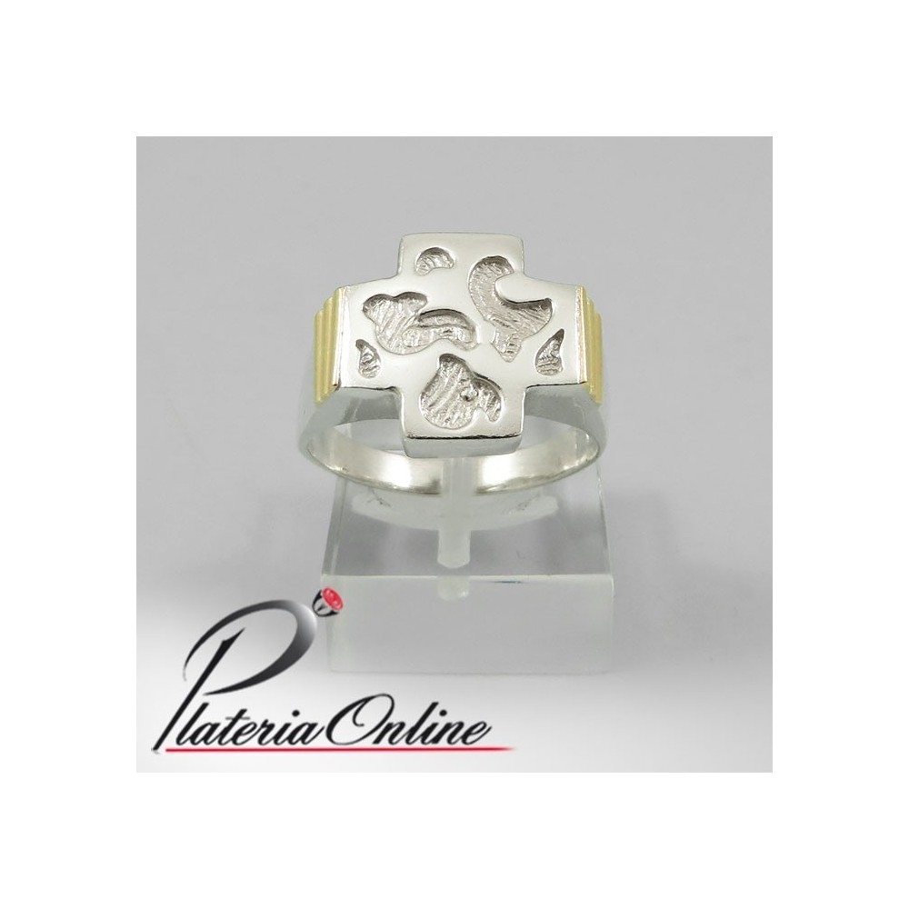 929053bf6671 Anillo Cruz del Equilibrio Garabato de Plata y Oro Compra Online Hacemos  envios a todo el mundo