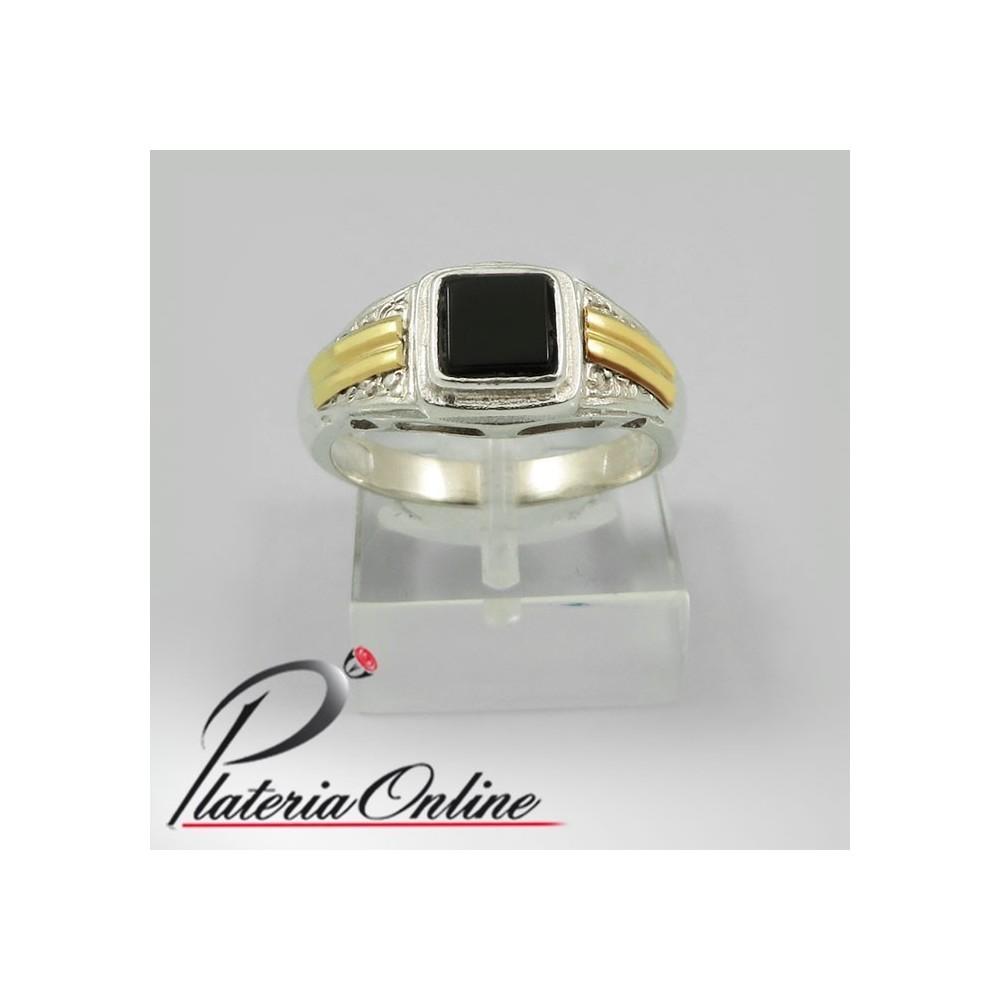 e9339568b94c Anillo Unisex con piedra cuadrada de Plata y Oro Compra Online Hacemos  envios a todo el mundo