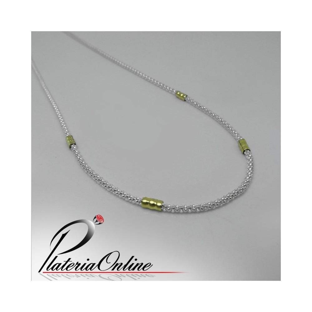 3cc14a022b57 Cadena Burbuja Plata y Oro Largo de cadena 40 cm
