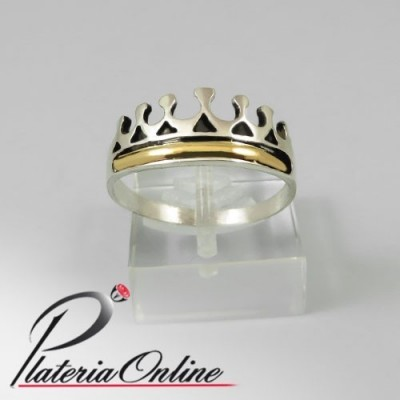 Anillo Corona de Plata y Oro