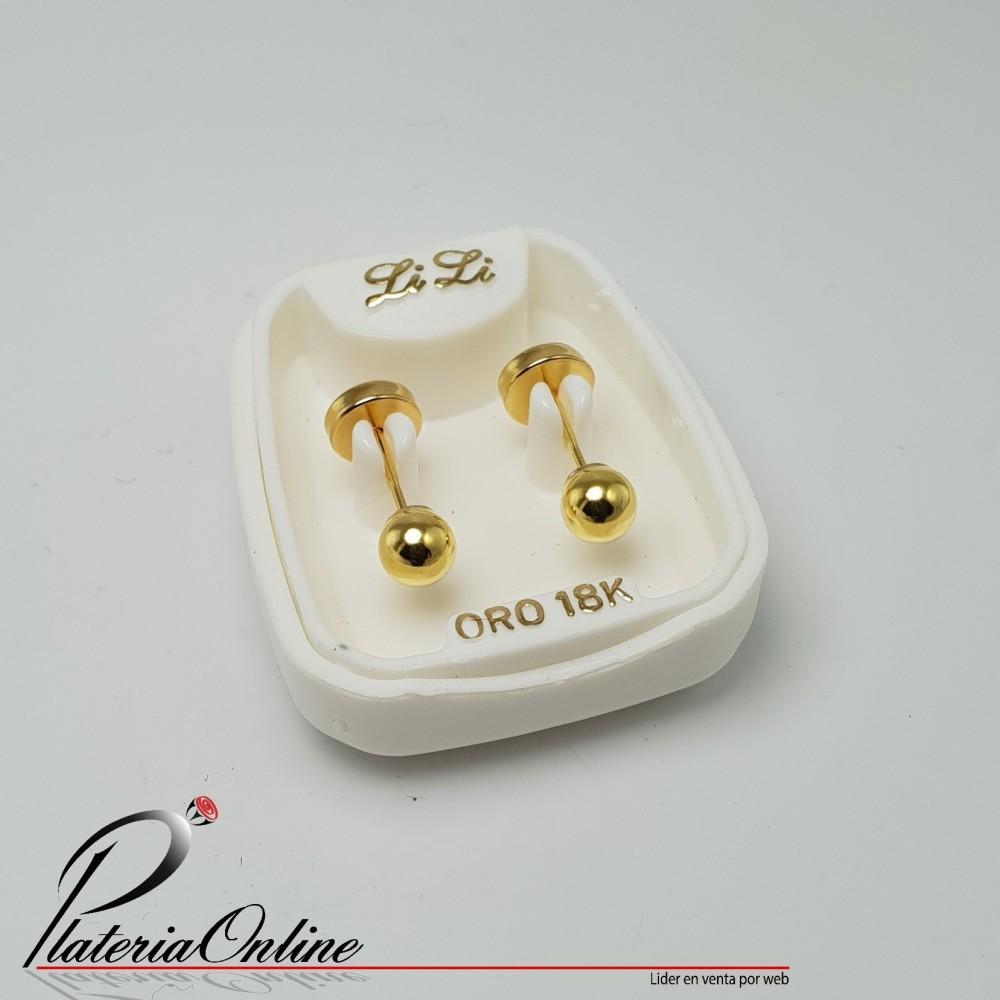2ff0278f1284 Aros Abridores De Oro Amarillo 18k Bolita de 4mm
