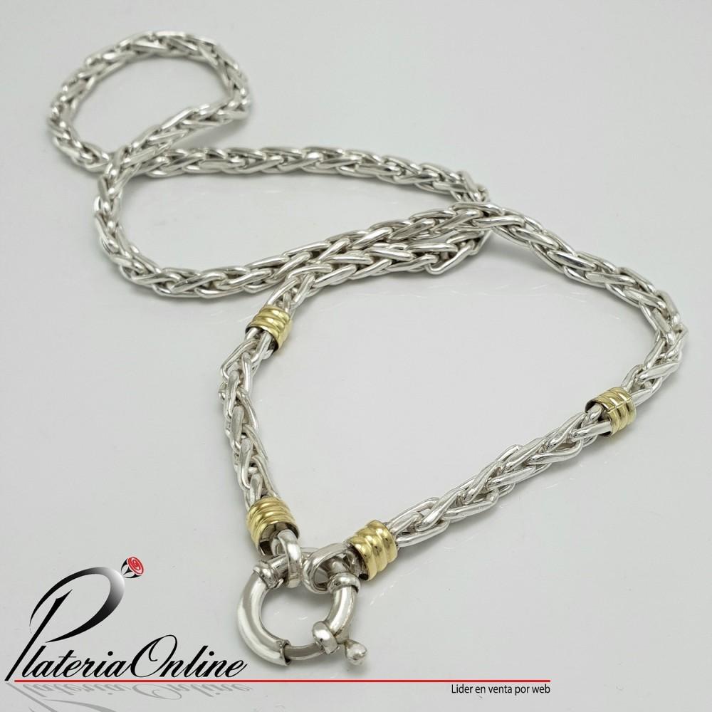 ee272f367cf0 Cadena Espiga Nº2 Plata 925 y Oro Largo de cadena 60 cm