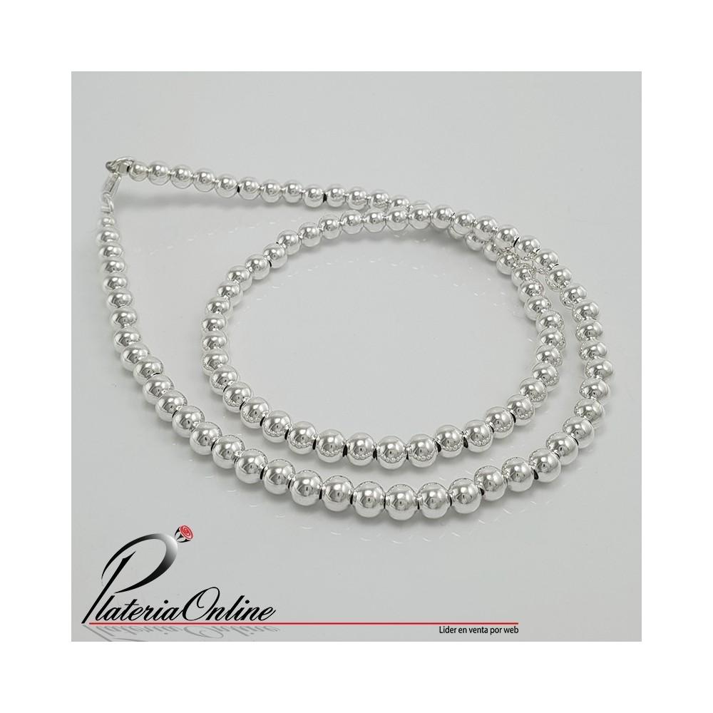 35f6eee4b483 Collar Todo Bolitas de 5mm de Plata 925 Largo de cadena 45 cm