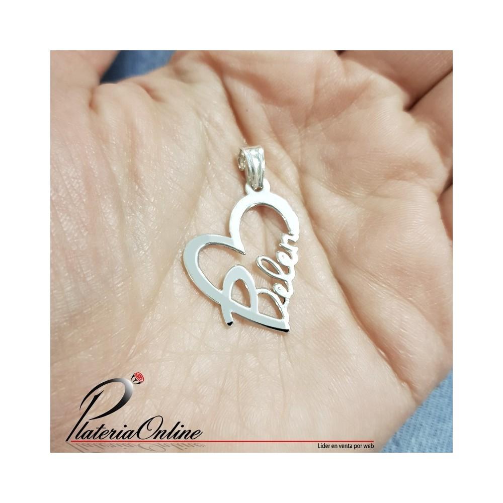 419046b57c6e Dije Corazón con Nombre Personalizado Plata 925