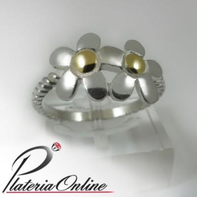 Anillo 2flores de plata y oro