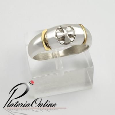 36e6cfd18165 Anillo de plata y oro Cruz.