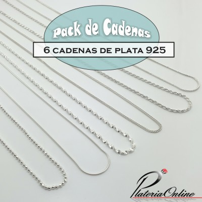 Pack de 6 Cadenas de Plata 925