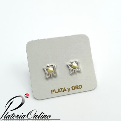 Aros Mariposa Colita Plata...