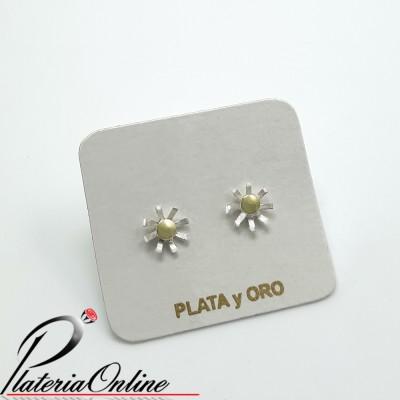 Aros Asterisco Plata 925 y Oro