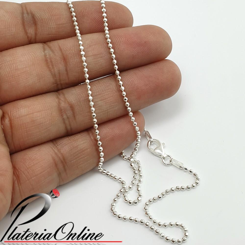 92fd31e44a81 Cadena de Bolitas Facetadas de Plata 925 Largo de cadena 45 cm