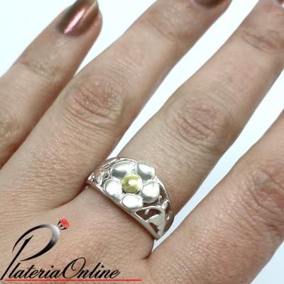 Anillo de plata y oro Flor...