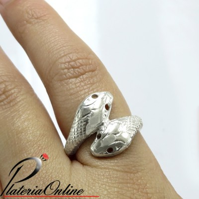 Anillo Doble Cobra de Plata...