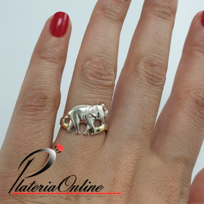 Anillo Plata y Oro Elefante